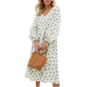 NWOT ASOS Oversized Midi Dress 8 White Floral NEW